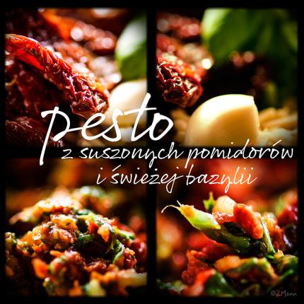 pesto z suszonych pomidorów i świeżej bazylii …………..