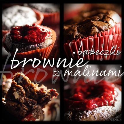 babeczki brownie z malinami