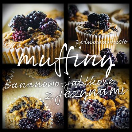 muffiny bananowo-jabłkowe z jeżynami