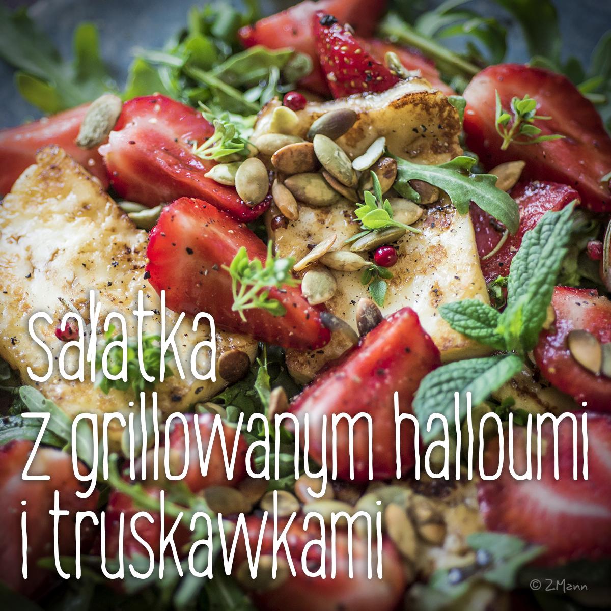 sałatka z grillowanym halloumi i truskawkami