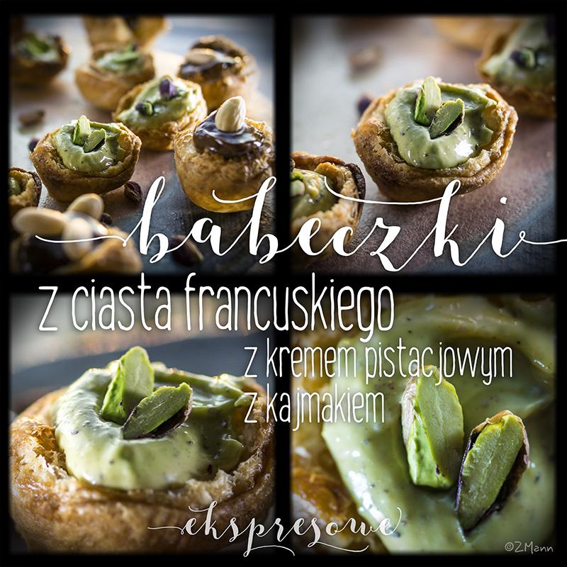 babeczki z ciasta francuskiego z kremem pistacjowym i kajmakiem . ekspresowe