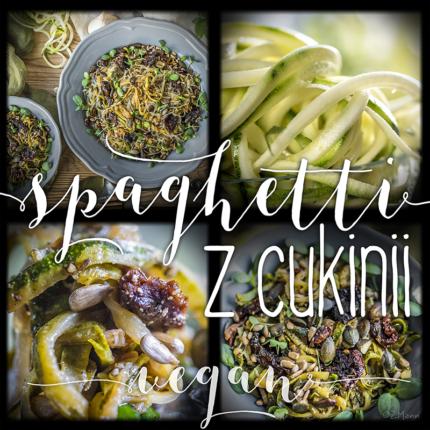 spaghetti z cukinii . wegańskie danie warzywne w dwóch wariantach