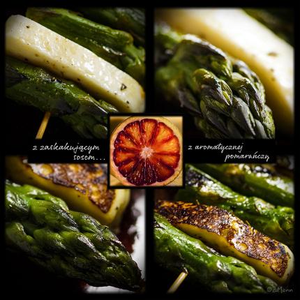 szaszłyki ze szparagów i sera halloumi