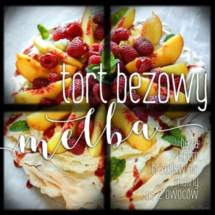 tort bezowy MELBA : z brzoskwiniami, malinami i sosem owocowym