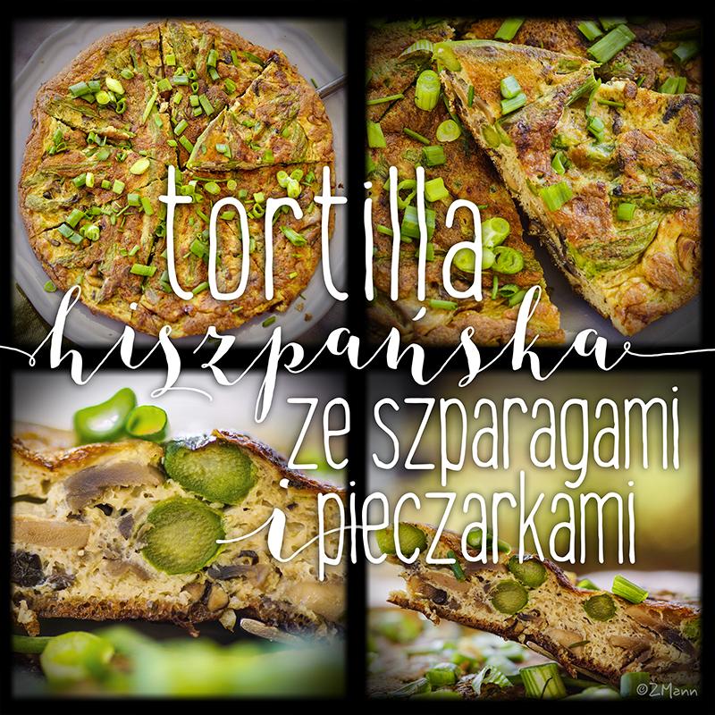 tortilla hiszpańska ze szparagami i pieczarkami